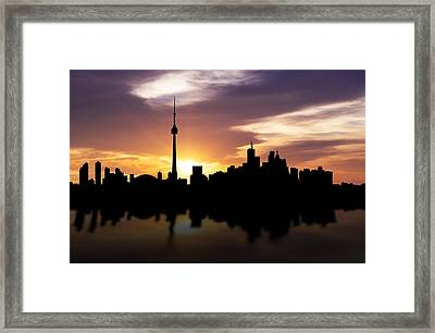Toronto Canada Sunset Skyline  Framed Print by Aged Pixel