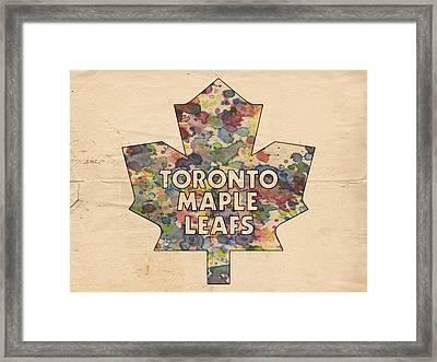 Toronto Maple Leafs Hockey Poster Framed Print by Florian Rodarte