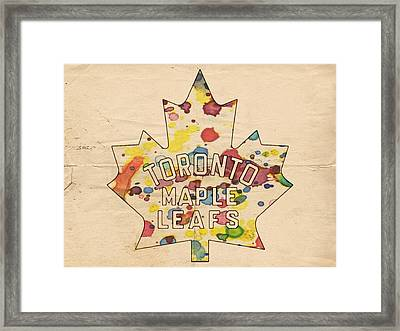 Toronto Maple Leafs Vintage Poster Framed Print by Florian Rodarte