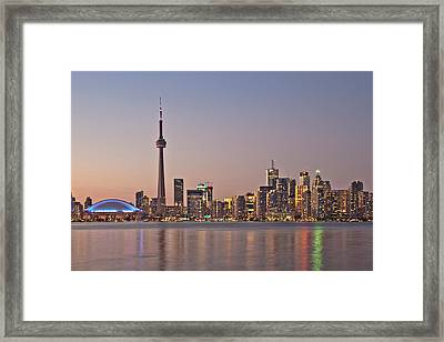 Toronto Night Skyline Tower Downtown Skyscrapers Sunset Canad Framed Print
