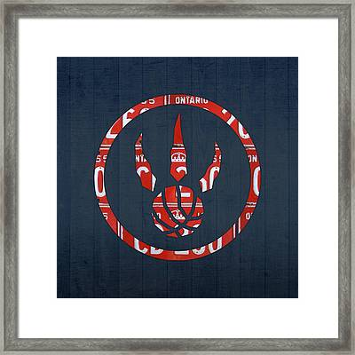 Toronto Raptors Basketball Team Retro Logo Vintage Recycled Ontario License Plate Art Framed Print by Design Turnpike