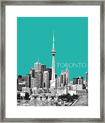 Toronto Skyline - Teal Framed Print by DB Artist