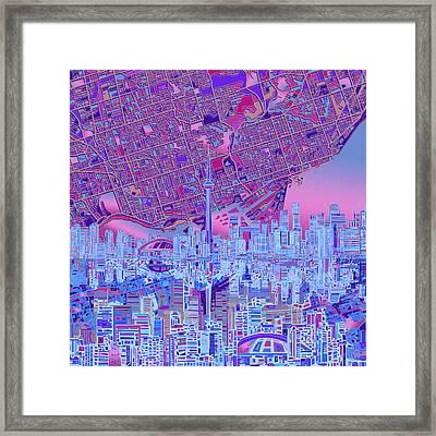 Toronto Skyline Abstract 8 Framed Print