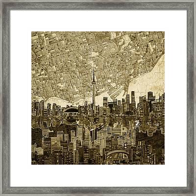 Toronto Skyline Abstract Vintage Framed Print
