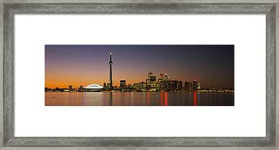 Toronto Skyline At Dusk, Ontario Canada Framed Print