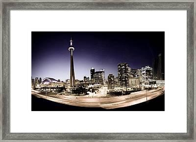 Toronto Skyline At Night Framed Print