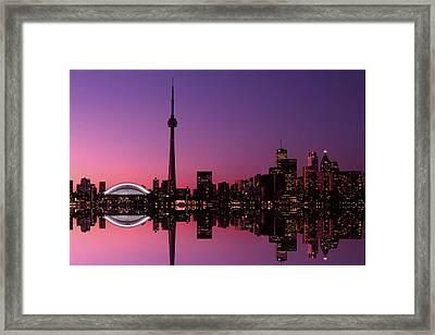 Toronto Skyline At Sunset, Toronto Framed Print by Alan Marsh