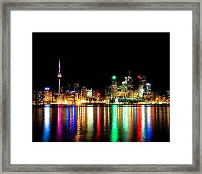 Framed Print featuring the photograph Toronto Skyline Night by Brian Carson