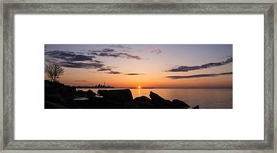 Toronto Skyline Panorama At Sunrise Framed Print by Georgia Mizuleva