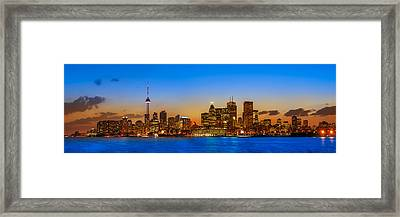 Toronto Skyline Panorama Framed Print by Sebastian Musial