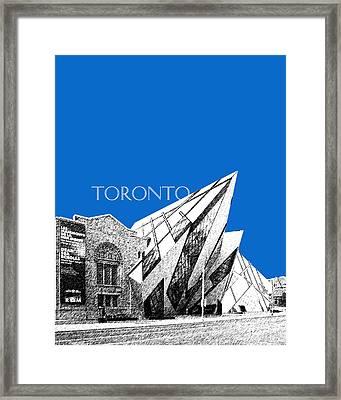 Toronto Skyline Royal Ontario Museum - Blue Framed Print