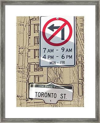 Toronto Street Sign Framed Print by Nina Silver