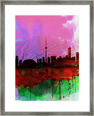 Toronto Watercolor Skyline Framed Print by Naxart Studio