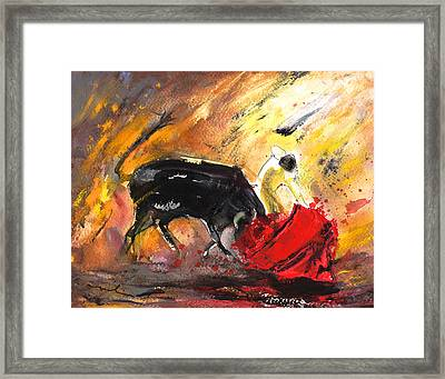 Bullfighting In Shadow And Light Framed Print