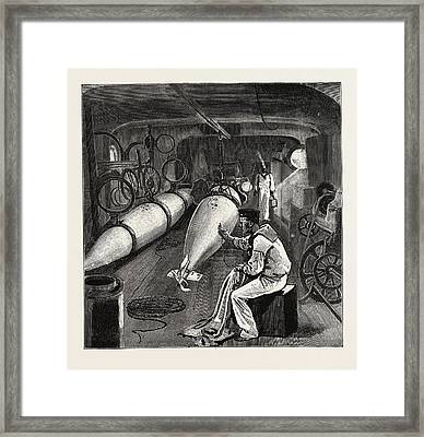 Torpedo Gun Boat, Dynamo Room In The Fore Part Of The Vessel Framed Print by English School