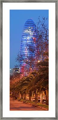 Torre Agbar At Dusk, Avinguda Diagonal Framed Print by Panoramic Images