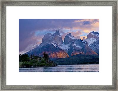 Torres Del Paine National Park, Cuernos Framed Print by Howie Garber