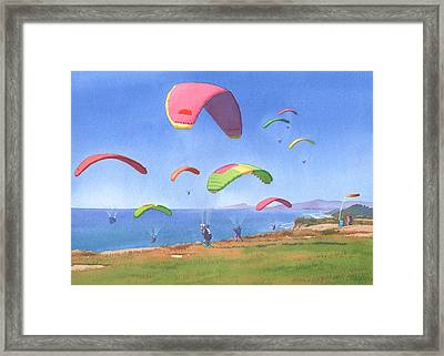 Torrey Pines Gliderport Framed Print by Mary Helmreich