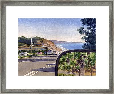 Torrey Pines In Sideview Mirror Framed Print by Mary Helmreich
