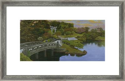Framed Print featuring the painting Torii Gate - Shinto Shrine by Rick Fitzsimons