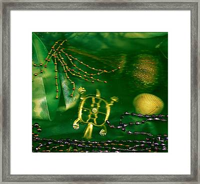 Tortoise Dives For Jewels Underneath The Sea Framed Print by Anne-Elizabeth Whiteway