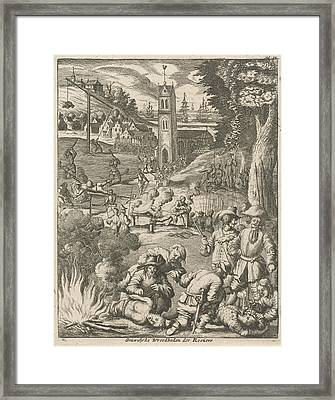 Torture By Pirates Under The Watchful Eye Of Soldiers Framed Print
