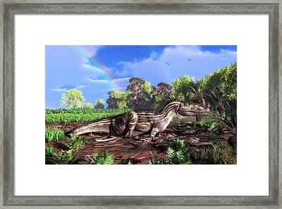 Torvosaurus And Rainbow Framed Print