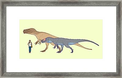 Torvosaurus Size Comparison Framed Print by Nemo Ramjet