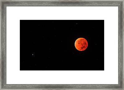 Total Lunar Eclipse And Spica Framed Print by Babak Tafreshi
