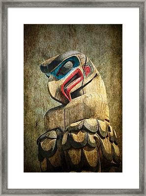 Totem Pole On Vancouver Island In The Pacific Northwest No. Ol 1400 4 Framed Print