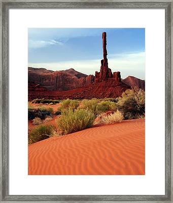 Totem Pole, Sand Dunes, Yei Bi Chei Framed Print