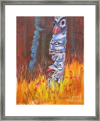 Totems Of Haida Gwaii Framed Print by Mohamed Hirji