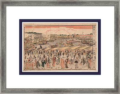 Toto Ryogokubashi Yusuzumi No Zu Framed Print by Shucho, Tamagawa (18th-19th Century), Japanese