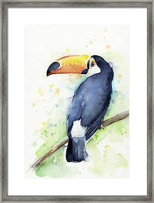 Toucan Watercolor Framed Print by Olga Shvartsur