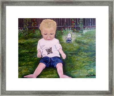 Framed Print featuring the painting Touched By A Butterfly Kiss by Kimberlee Baxter