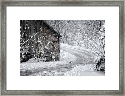 Touched By Snow Framed Print by Joan Carroll
