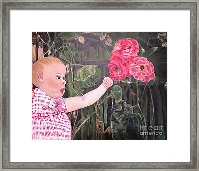 Framed Print featuring the painting Touched By The Roses Painting by Kimberlee Baxter