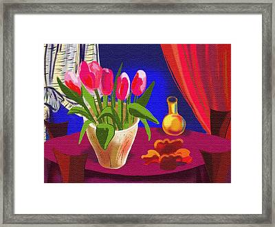 Toulips In The Night Framed Print by Olga Sheyn