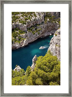 Tour Boat In The Calanques Near Cassis Framed Print by Brian Jannsen