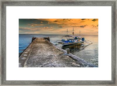 Tour Boat Sunset Framed Print by Adrian Evans