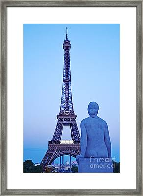 Tour Eiffel And Statue Framed Print