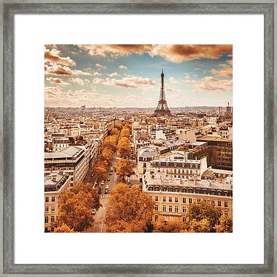 Tour Eiffel Tower Aerial View Framed Print by Franckreporter