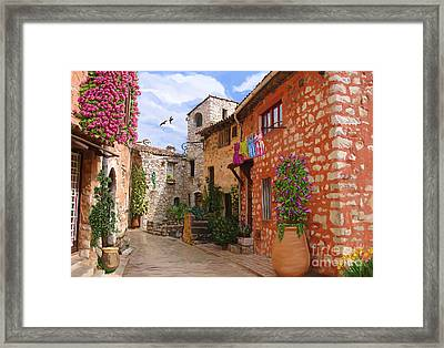 Framed Print featuring the painting Tourettes Sur Loup France by Tim Gilliland