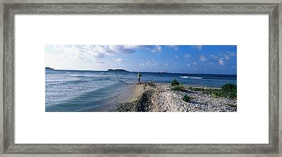 Tourist Fishing On The Beach, Sandy Framed Print
