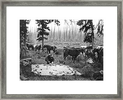 Tourist Horseback Camp Lunch Framed Print by Underwood Archives