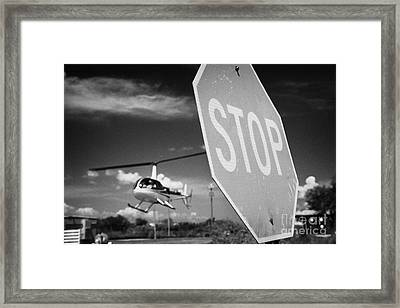 Tourist Light Helicopter Landing Behind Stop Sign Kissimmee Florida Usa Framed Print