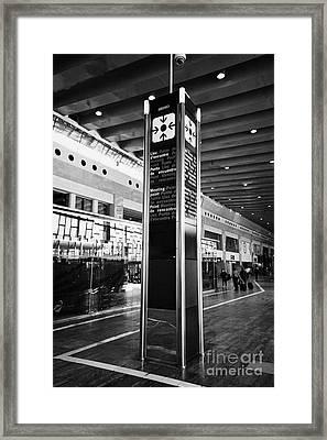Tourist Meeting Point Barcelona El Prat Airport Terminal 2 Catalonia Spain Framed Print by Joe Fox