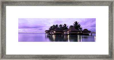 Tourist Resort At Dusk, Tahiti, French Framed Print by Panoramic Images