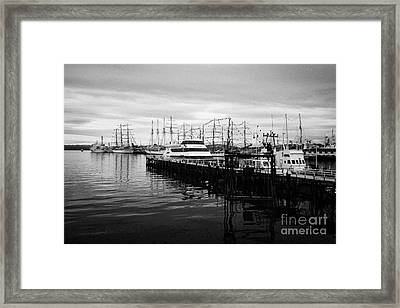 tourist scenic boat trip pier and commercial pier port of Ushuaia Argentina Framed Print