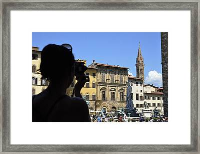Tourist Taking Pictures Of Florence Framed Print by Sami Sarkis